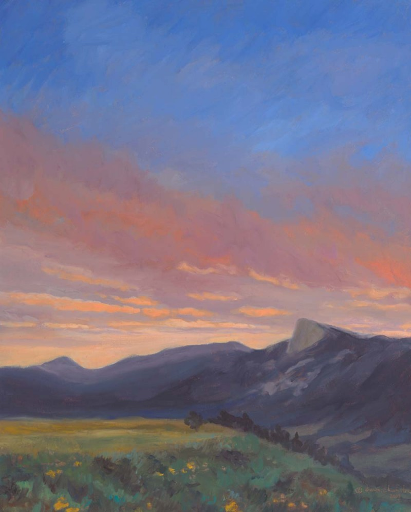 august sunset - tooth of time, oil landscape painting by artist dawn chandler