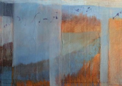 Bosque Bird Song - contemporary abstract landscape painting by New Mexico artist Dawn Chandler
