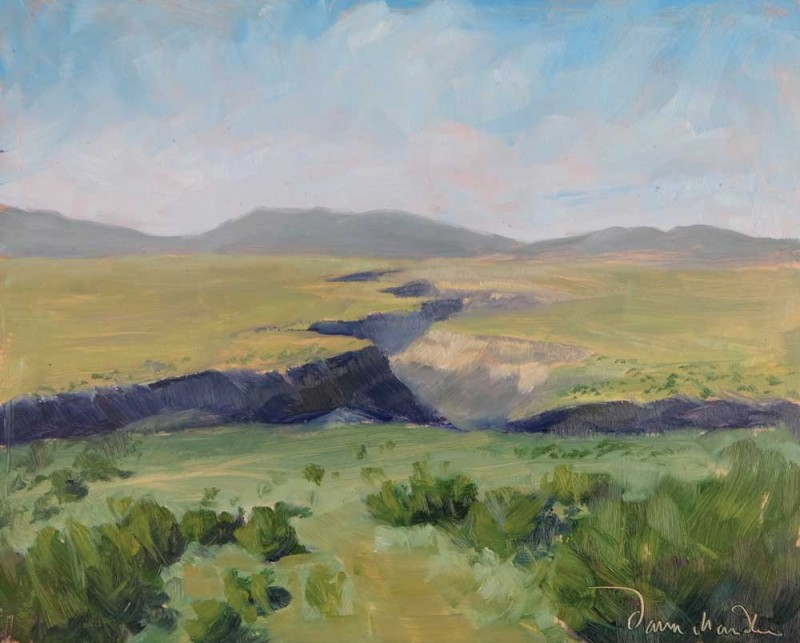 the view: taos' rio grande gorge, oil painting by artist dawn chandler