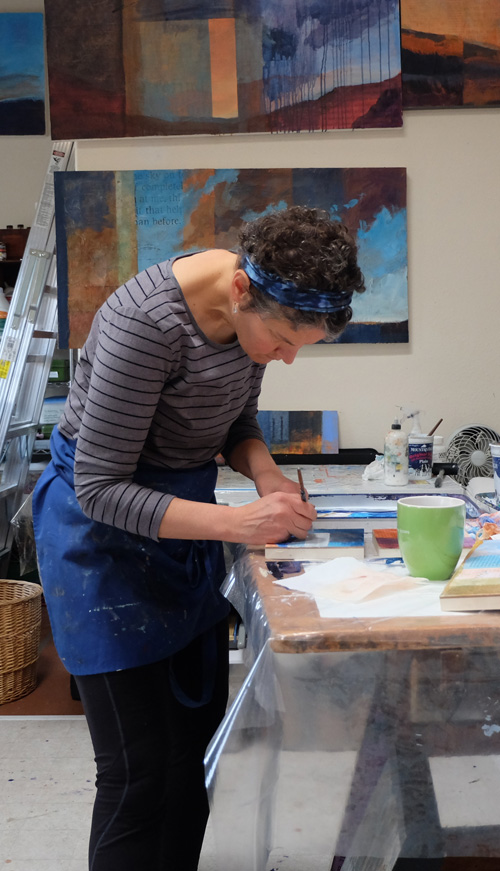 artist dawn chandler in her santa fe painting studio