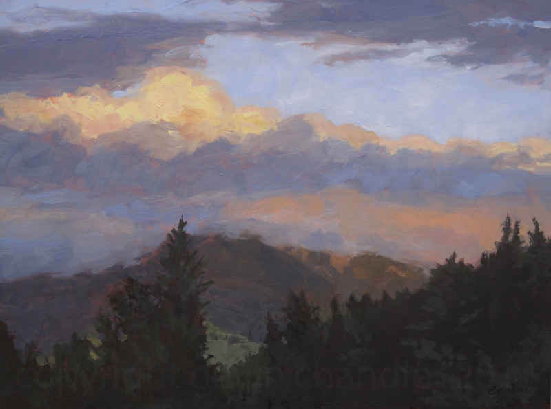 baldy from red river - oil painting by dawn chandler
