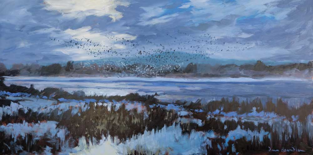"'bosque morning rising' ~ by dawn chandler ~ oil on panel ~ 12"" x 24"""