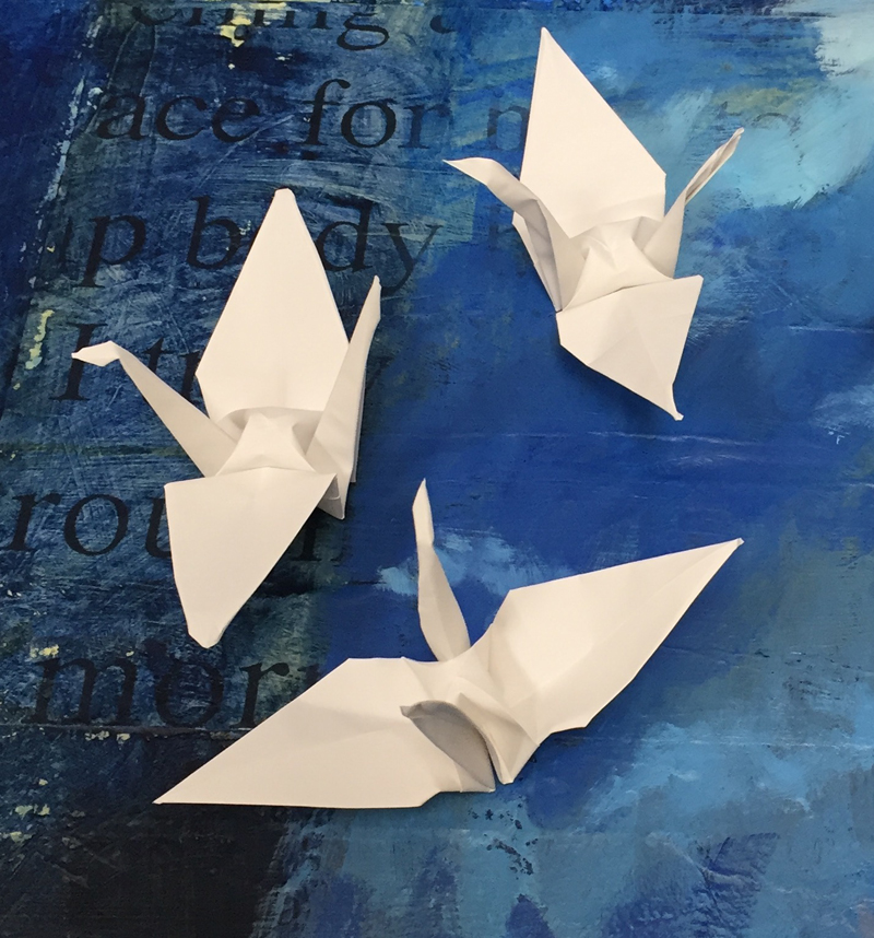 three origami cranes, crafted by dawn chandler