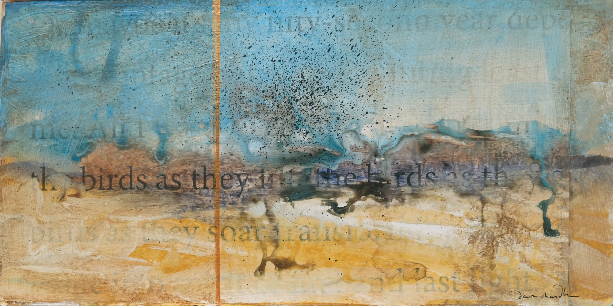 "'as they soar' ~ by dawn chandler ~ mixed media on panel ~ 6"" x 12"""