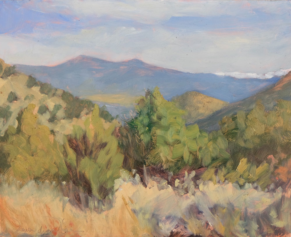 Leap Day Along the Turquoise Trail, en plein air oil painting, by artist Dawn Chandler