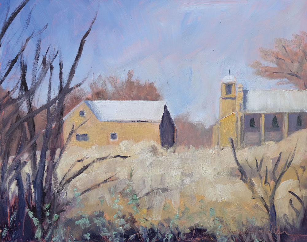 Midwinter Lamy New Mexico, en plein air oil painting by artist Dawn Chandler