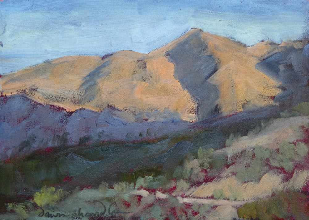 early morning light from a luz trail, plein air painting on panel by artist dawn chandler