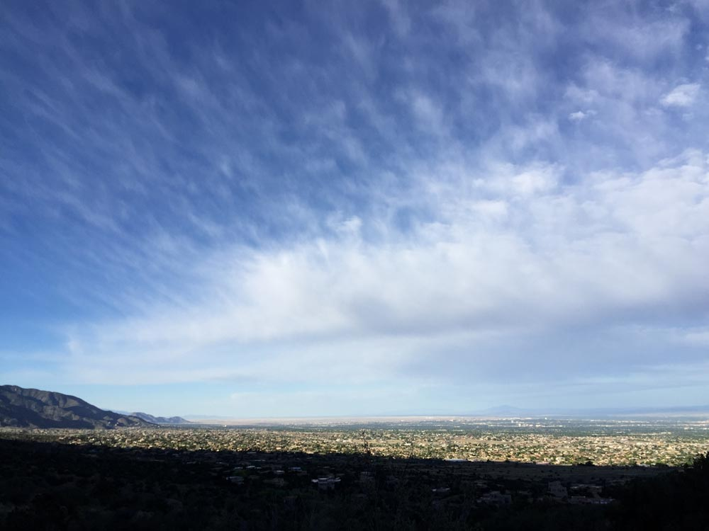 early morning view of albuquerque from la cueva picnic site — photo by dawn chandler
