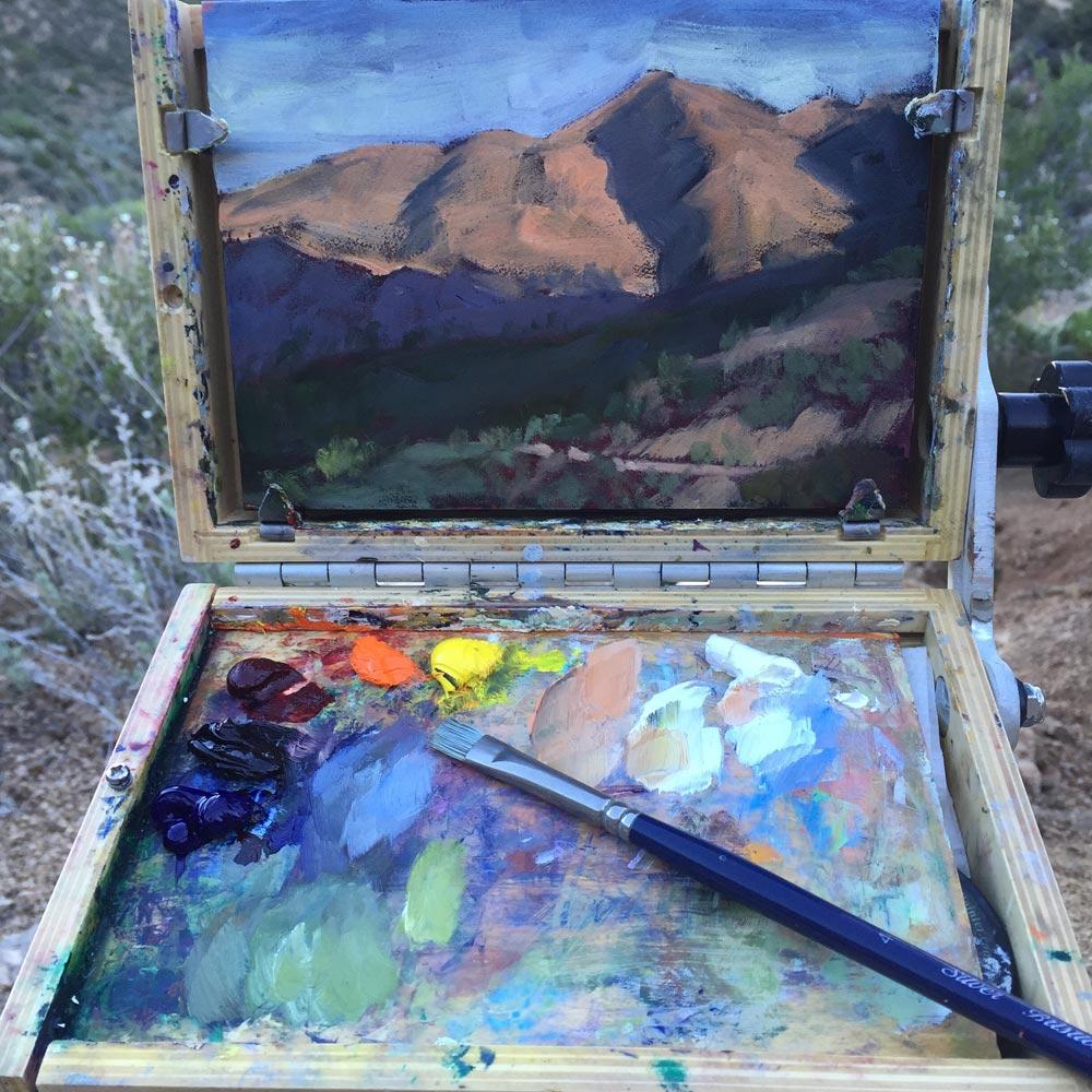 dawn chandler early morning plein air painting along albuquerque's la luz trail
