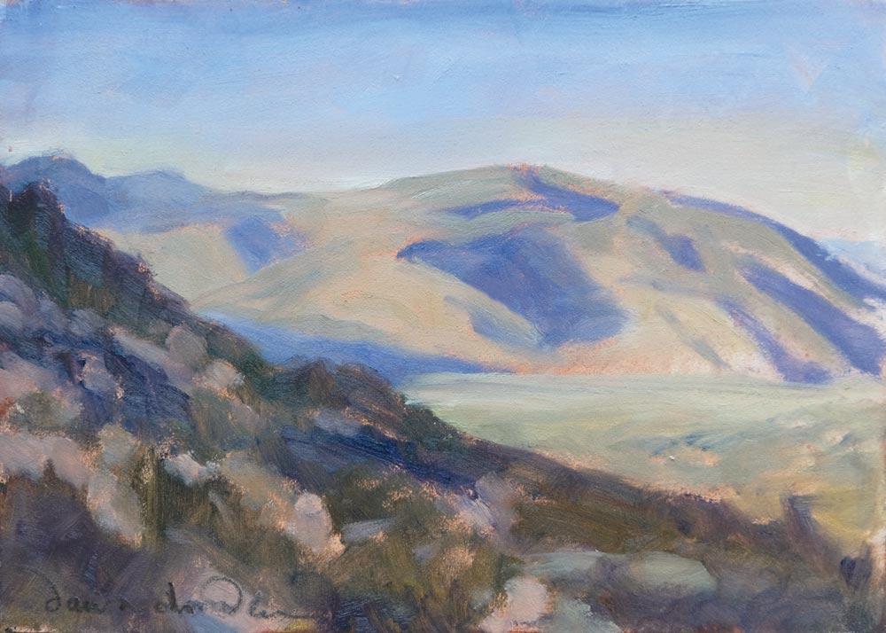 morning across albuquerque from la cueva, plein air oil painting by artist dawn chandler