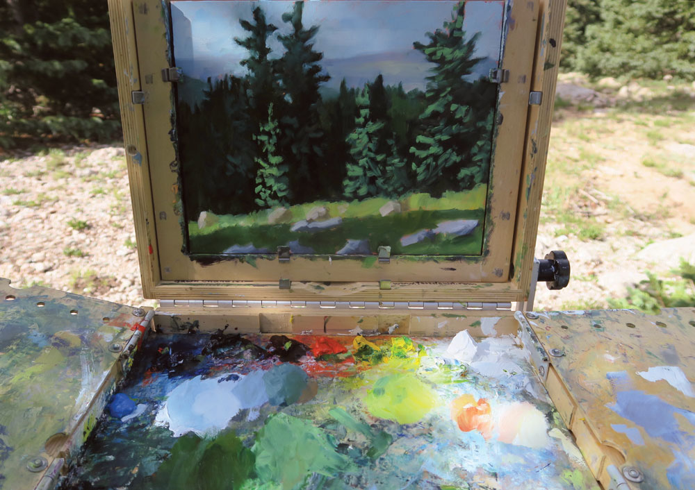 painting process, illuminated by morning light , plein air new mexico landscape painting by artist dawn chandler