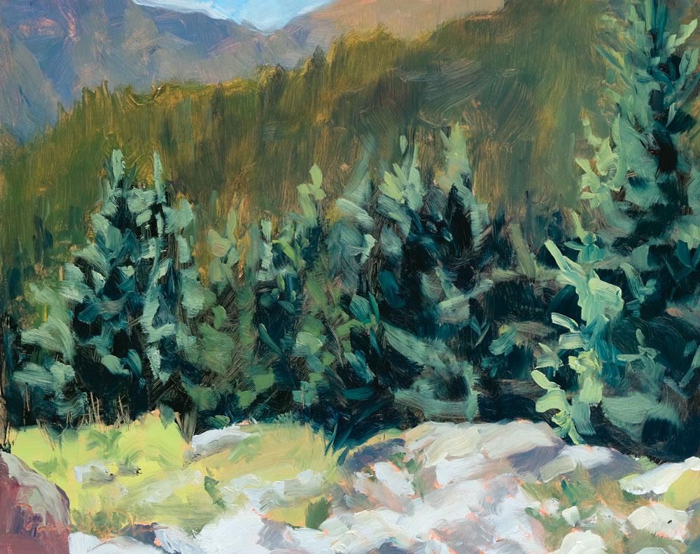 above ravens ridge trail, plein air new mexico landscape painting by artist dawn chandler
