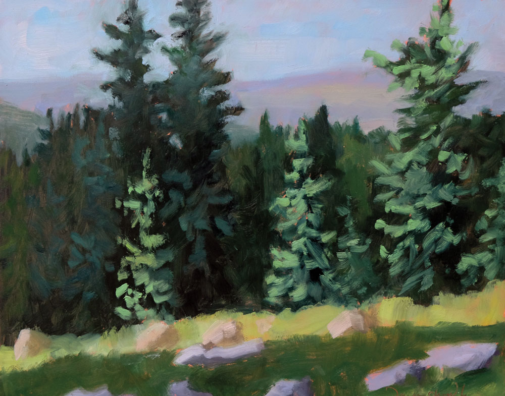 illuminated by morning light , plein air new mexico landscape painting by artist dawn chandler