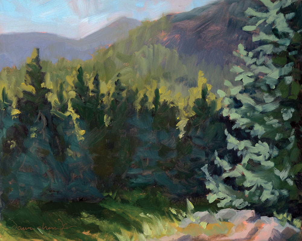 the view from our perch, plein air new mexico landscape painting by artist dawn chandler