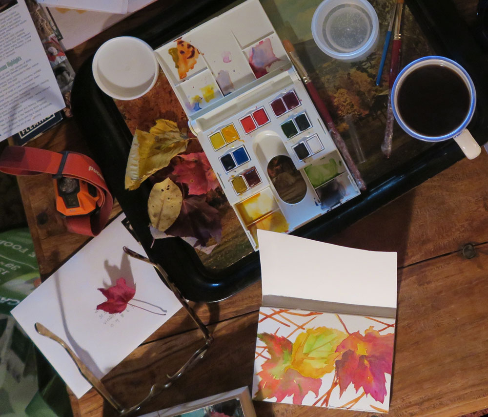 travel watercolor set and studio, here in Vermont photo by artist Dawn Chandler