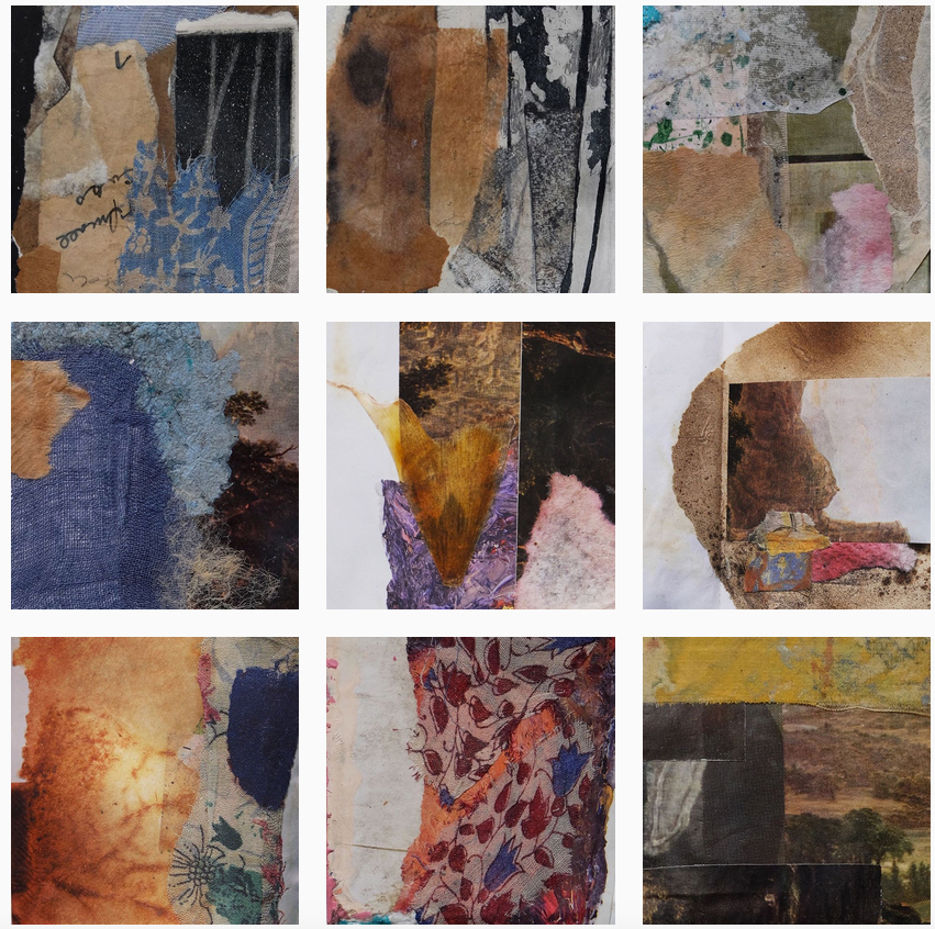 Instagram grid of collages from The Book of Collage, Volume 1, by Santa Fe artist Dawn Chandler