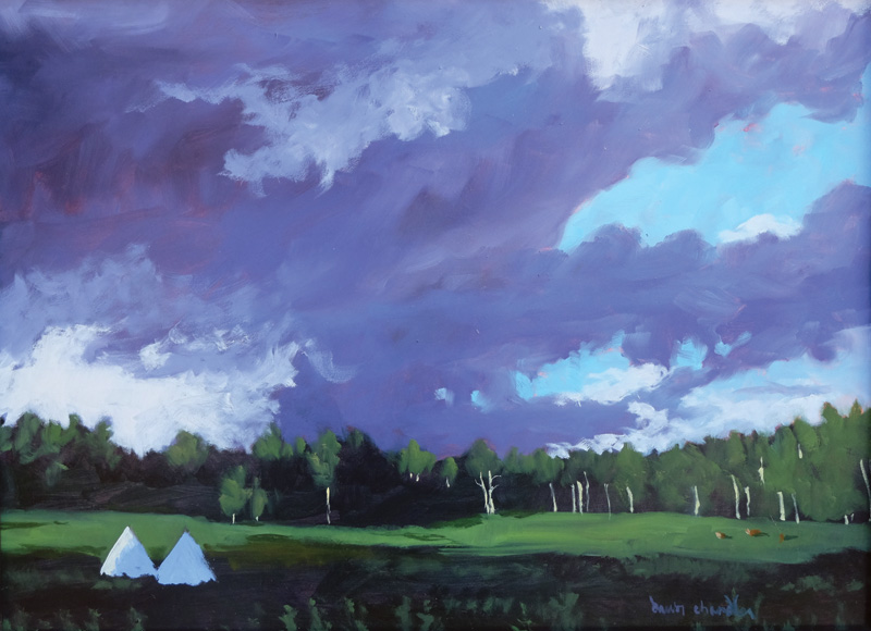 apache springs summer evening, philmont, oil landscape painting by santa fe artist dawn chandler