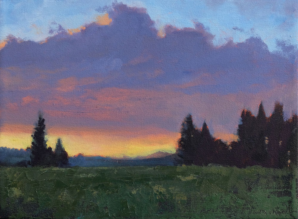 apache springs sunset, philmont, oil landscape painting by santa fe artist dawn chandler