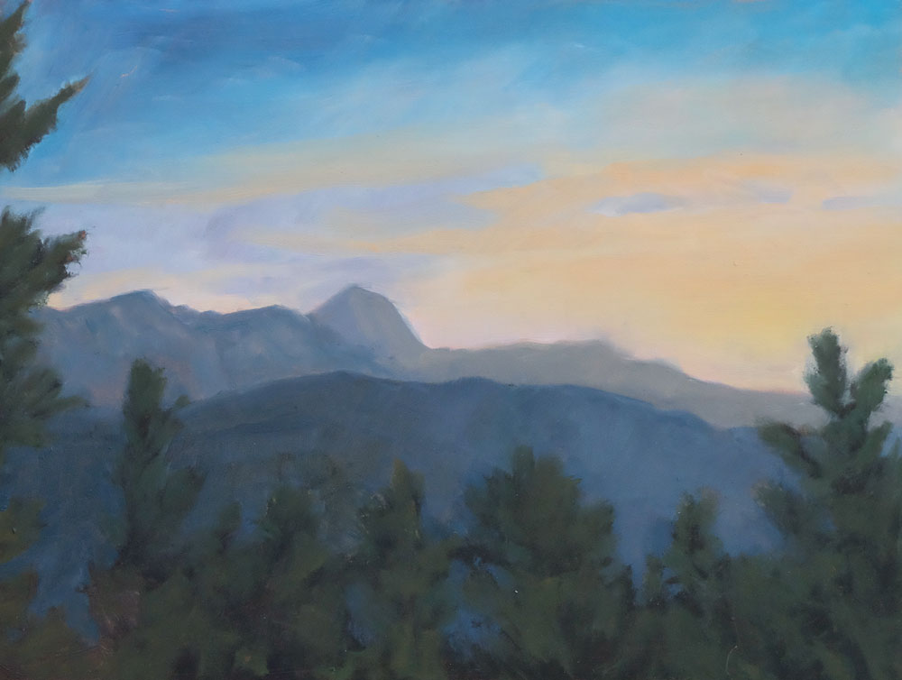 daybreak at crater lake - gazing toward the tooth, philmont, oil landscape painting by santa fe artist dawn chandler