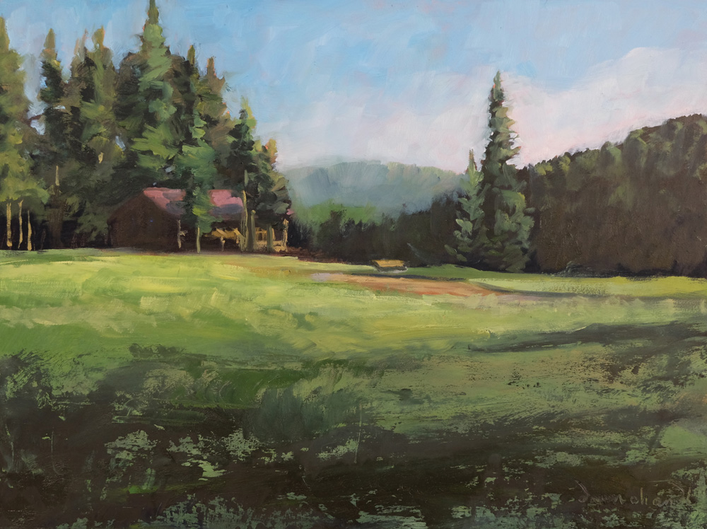 early morning light at beaubien, philmont, oil landscape painting by santa fe artist dawn chandler
