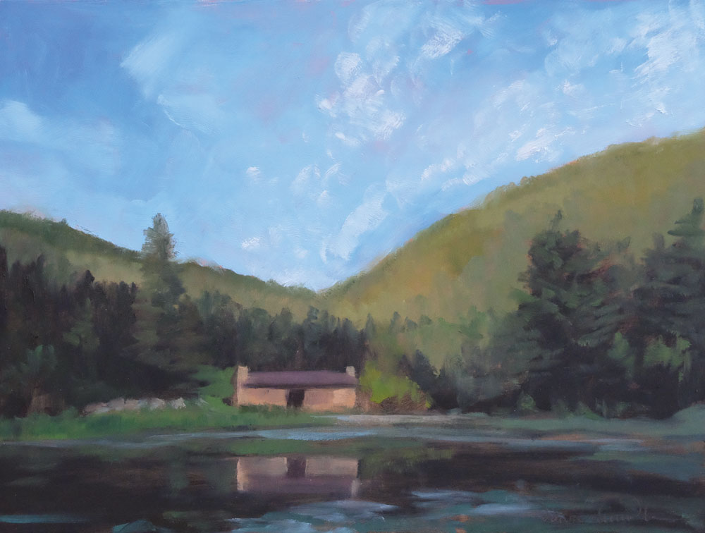 july morning, crater lake camp, philmont, oil landscape painting by santa fe artist dawn chandler