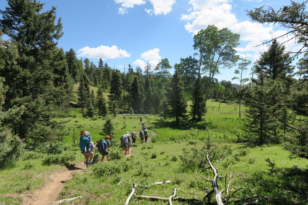 our 2015 'sole sister' trek winding our way across philmont's south country, july 2015, photo by dawn chandler