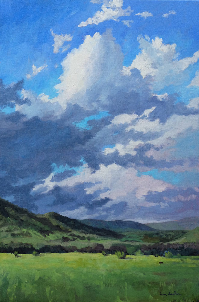 when rain finally comes to new mexio, philmont, oil landscape painting by santa fe artist dawn chandler