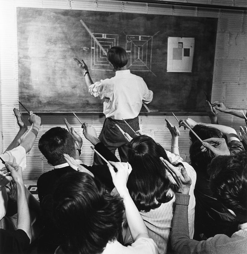 santa fe artist dawn chandler's creative change - vintage photo of josef albers making a point c. 1946