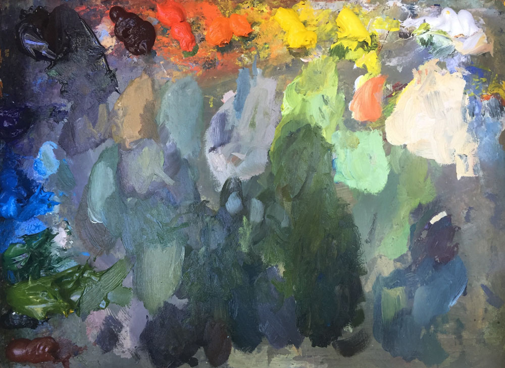 santa fe artist dawn chandler's plein air paint palette upon completion of the painting!