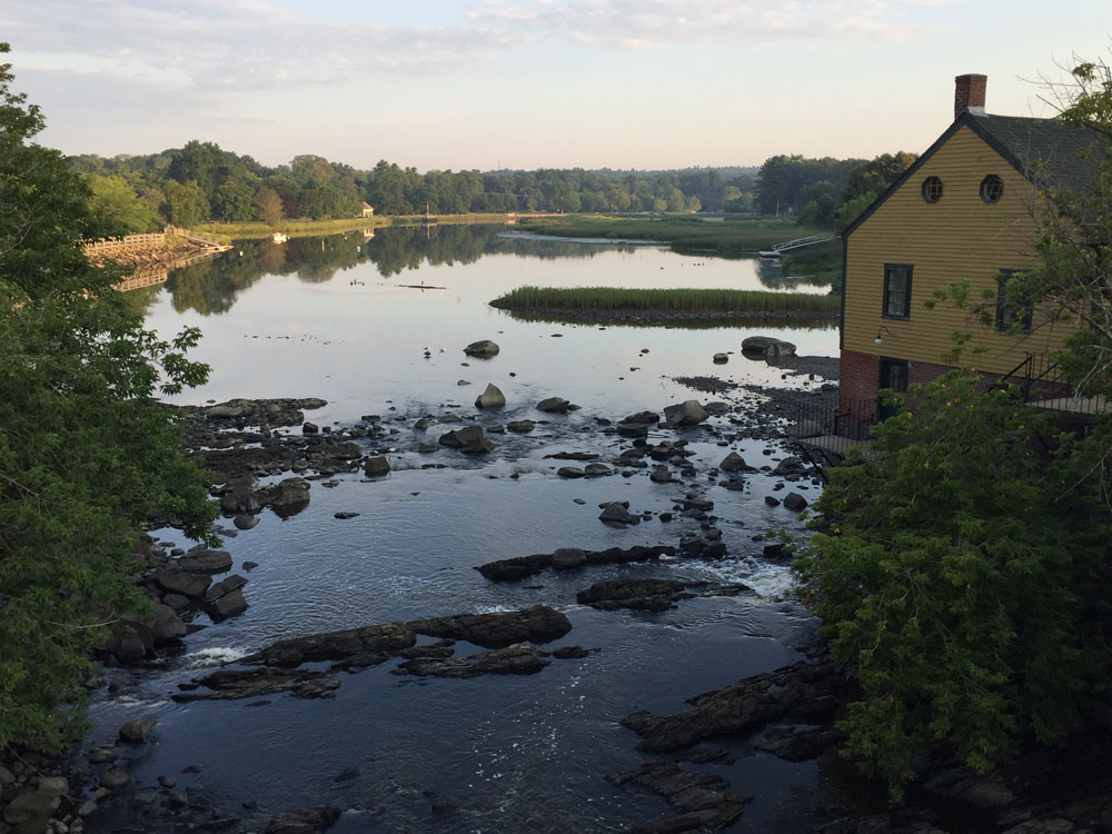 The Exeter RIver, as seen early one morning from one of the town bridges, Exeter, New Hampshire; photo by Dawn Chandler, Santa Fe artist.