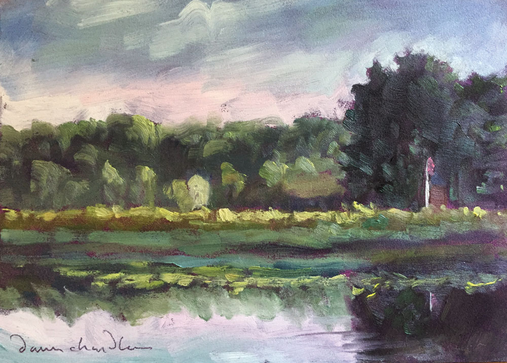 Artist Dawn Chandler' plein air painting of the Exeter River and distant Powder House and flag pole in New Hampshire.