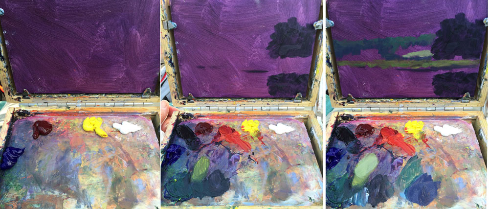 Artist Dawn Chandler' plein air painting palette while painting the Exeter River in New Hampshire.