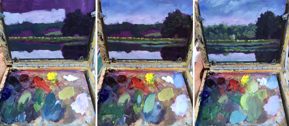 Artist Dawn Chandler' plein air painting palette while painting the Exeter River in New Hampshire - here, the later stages.