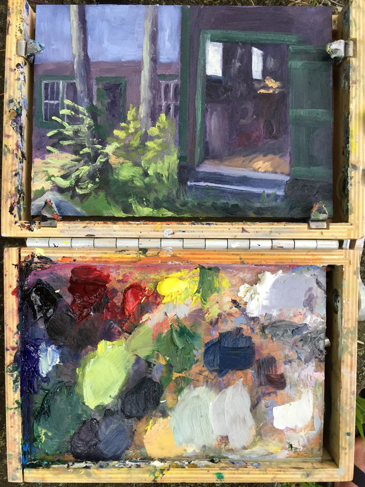 Artist Dawn Chandler's plein air paint palette and painting of her aunt's tool shed at the lake house on Lake Wentworth, New Hampshire