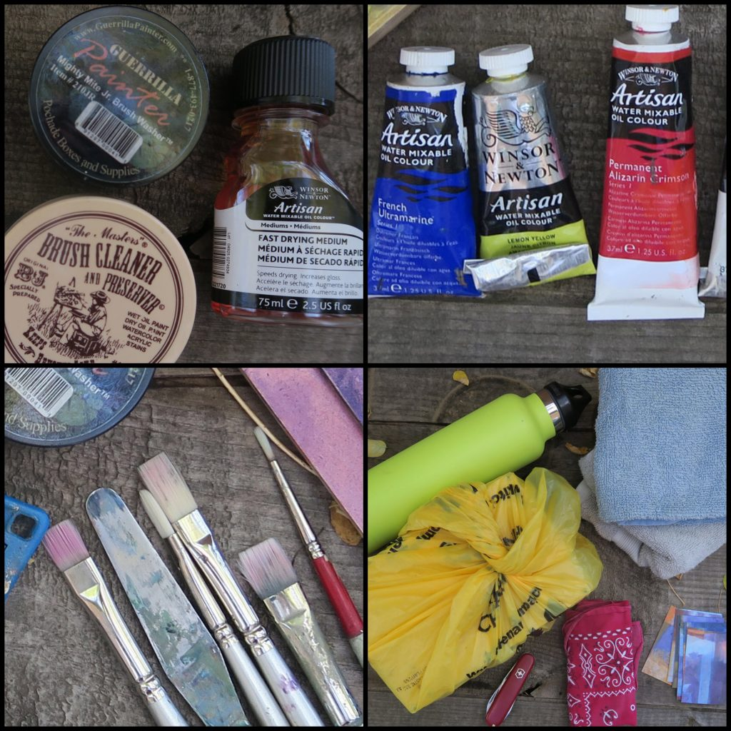 Tools of a traveling painter - Grid photo of Santa Fe artist Dawn Chandler's traveling plein air painting tools and gear