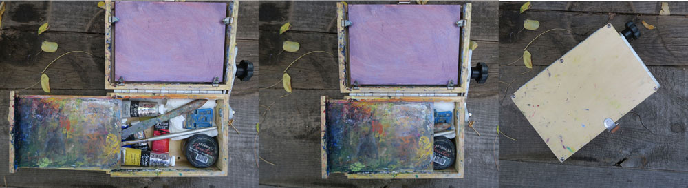 Tools of a traveling painter - artist Dawn Chandler's pochade paint box made by Guerilla