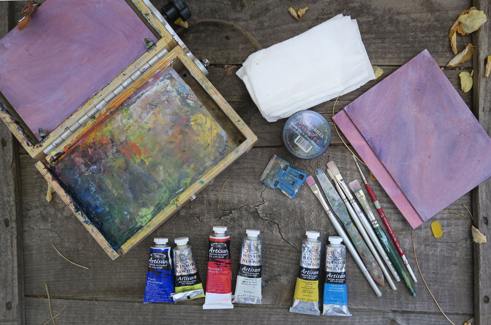 Tools of a traveling painter - The contents of Santa Fe artist Dawn Chandler's small plein paint box made by Guerilla