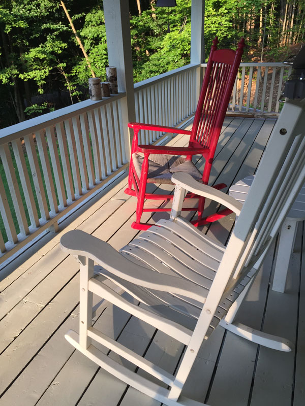 One of my favorite morning spots — a dear friend's porch in Stowe, Vermont. Photo by Santa Fe artist Dawn Chandler