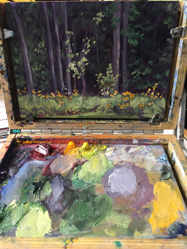 plein air oil painting of golden flowers and green birch leaves catching the sun in a friend's Vermont garden, by Santa Fe artist Dawn Chandler