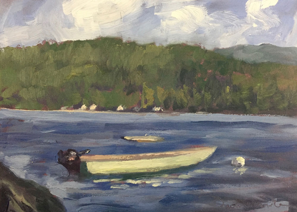 suz's boat catching the late afternoon light, lake wentworth, new hampshire, painted in oil by santa fe artist dawn chandler