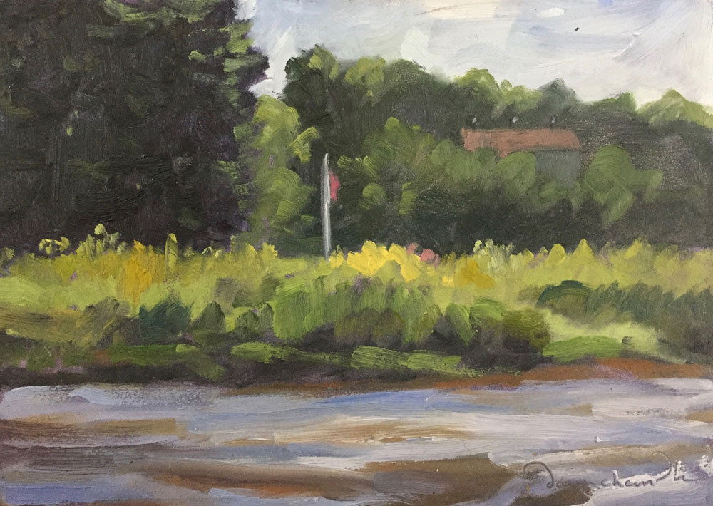 plein air oil painting of the Exeter River, Exeter, New Hampshire, by Santa Fe artist Dawn Chandler