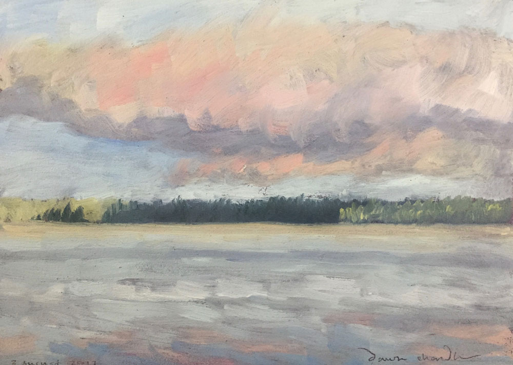 golden pink sunrise cloud over lake wentworth, new hampshire, painted in oil en plein air by santa fe artist dawn chandler
