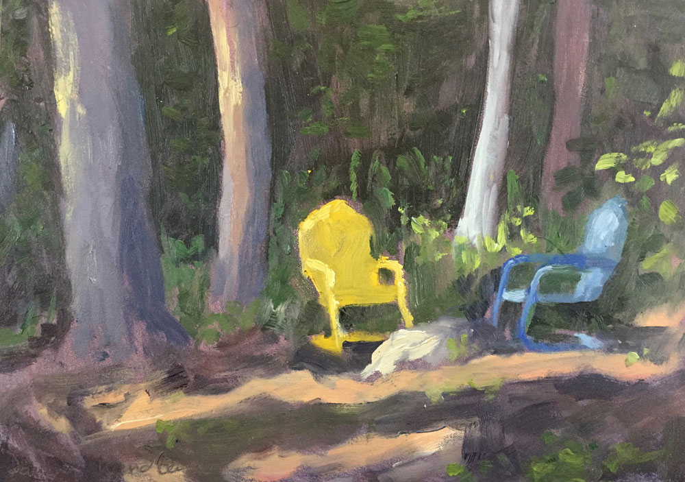 plein air oil painting of lakeside trees along Lake Wentworth, New hampshire, by Santa Fe artist Dawn Chandler