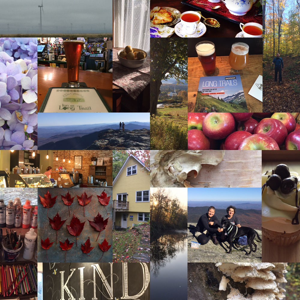 Photo montage of Artist Dawn Chandler's autumn roadtrip from New Mexico to Vermont