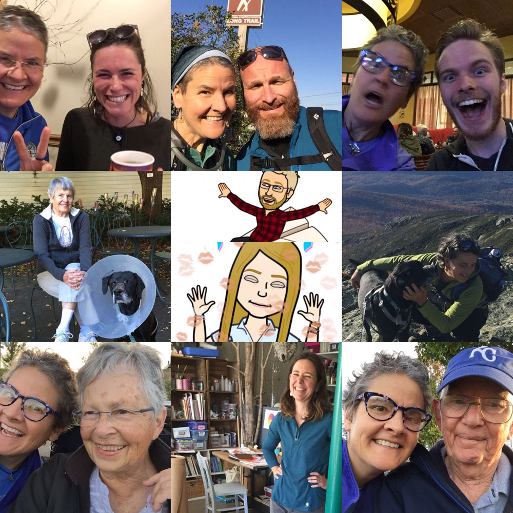 Photo montage of friends and familuy from artist Dawn Chandler's autumn roadtrip from New Mexico to Vermont