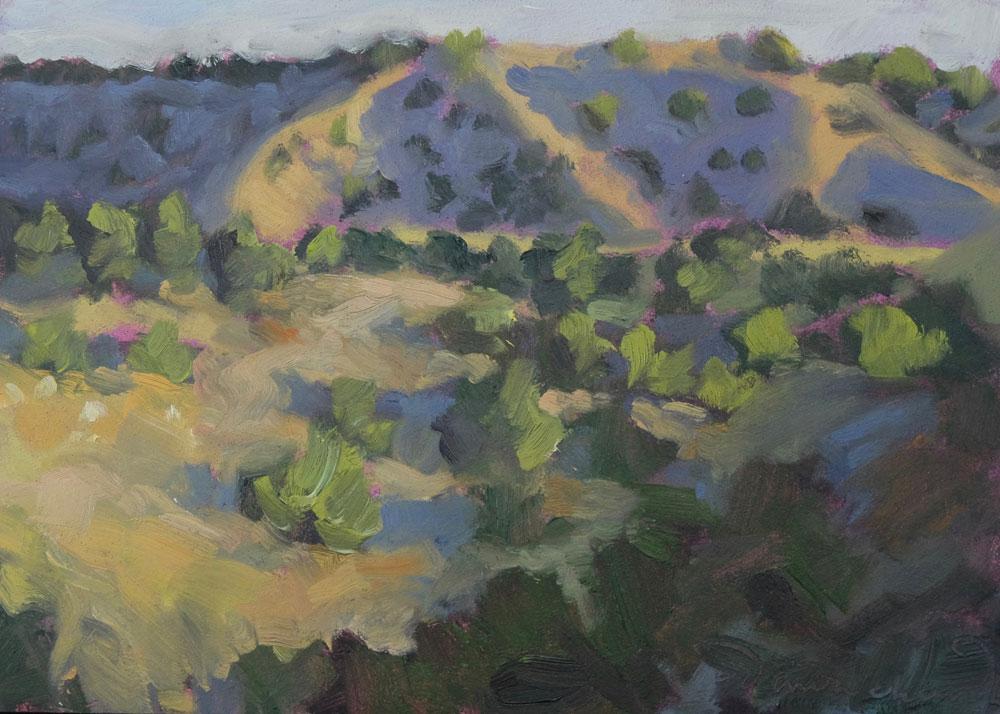 A plein air oil painting of Santa Fe's Galisteo Basin painted by artist Dawn Chandler
