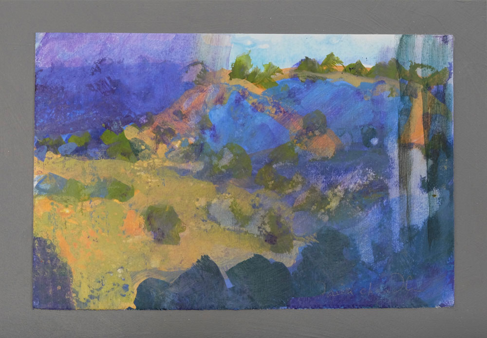 A contemporary landscape painting of the Galisteo Basin by artist Dawn Chandler