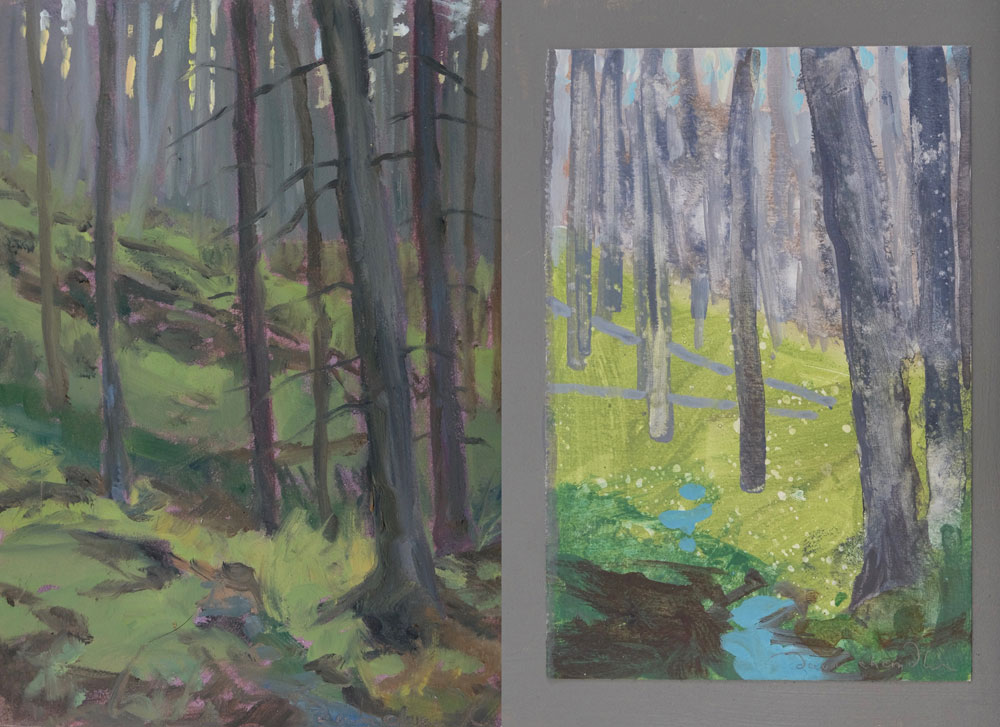 Two original paintings of the Santa Fe Forest painted by artist Dawn Chandler and recently auctioned on eBay