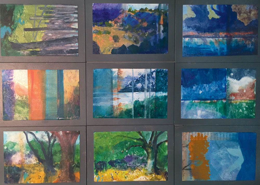 Several contemporary landscape paintings from artist Dawn Chandler's 60:30 Project