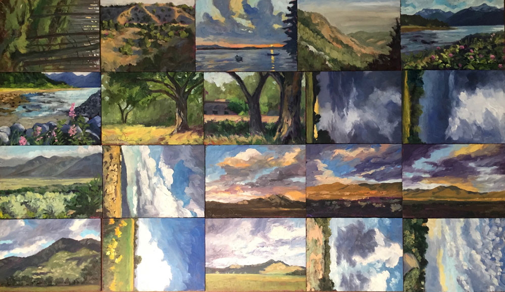 A selection of landscape paintings from artist Dawn Chandler's recent 60:30 Project